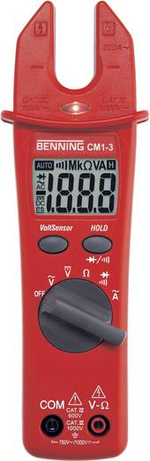 Benning CM 1-3 Stromzange, Hand-Multimeter digital CAT III 1000 V, CAT IV 600 V Anzeige (Counts): 2000