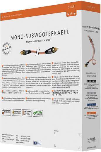 Cinch Audio Anschlusskabel [1x Cinch-Stecker - 1x Cinch-Stecker] 5 m Transparent vergoldete Steckkontakte Inakustik
