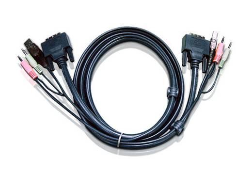 KVM Anschlusskabel [1x DVI-Stecker 18+5pol. - 1x DVI-Stecker 18+5pol.] 3 m Schwarz ATEN