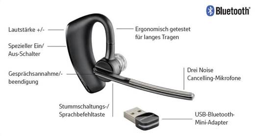 Telefon-Headset Bluetooth schnurlos, Mono Plantronics Voyager Legend UC B235 In Ear Schwarz