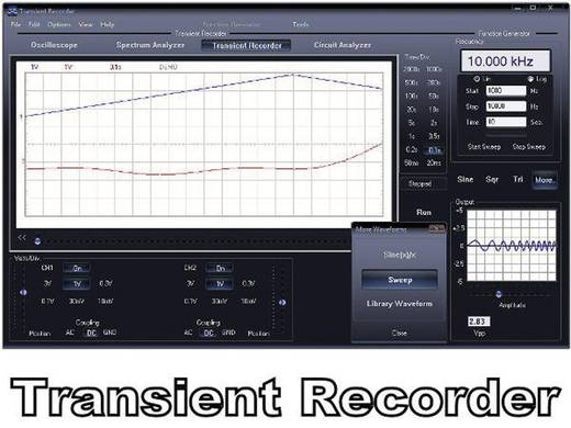 Oszilloskop-Vorsatz Velleman PCSU200 12 MHz 2-Kanal 25 MSa/s 4 kpts 8 Bit Digital-Speicher (DSO), Spectrum-Analyser, Fu