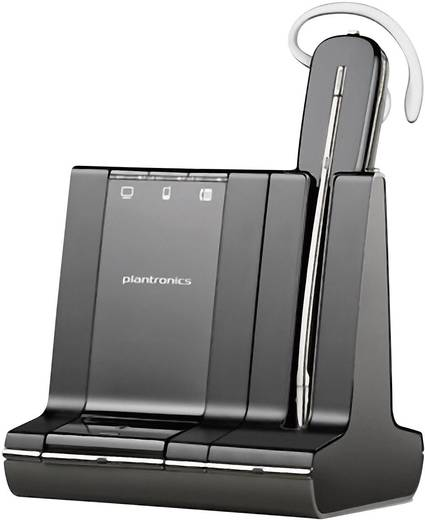 Telefon-Headset DECT schnurlos, Mono Plantronics Savi W745 In Ear, On Ear Schwarz