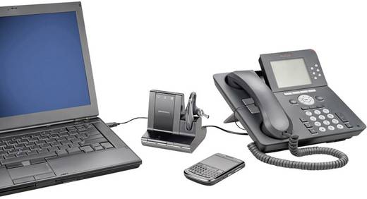 Telefon-Headset DECT schnurlos, Mono Plantronics Savi W730 In Ear Schwarz, Silber