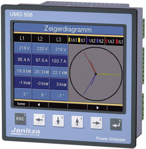 Netz-Analysegerät 3phasig, 1phasig mit Loggerfunktion Janitza UMG 508