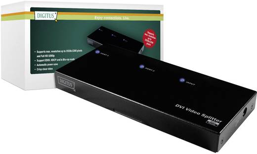 Digitus DS-41211 2 Port DVI-Splitter 1920 x 1200 Pixel Schwarz