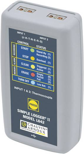 Chauvin Arnoux L642 Temperatur-Datenlogger Messgröße Temperatur -200 bis 1375 °C Kalibriert nach Werksstandard (