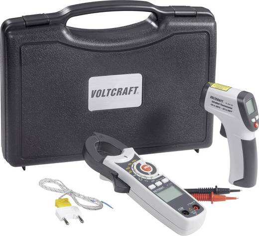 Infrarot-Thermometer VOLTCRAFT VC-TEST-KIT 100 IR-Thermoter + Stromzange + Alukoffer -30 bis +260 °C Kontaktmessung