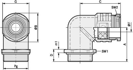 Winkelverschraubung PG13.5 Druckguss Natur LappKabel SKINDICHT® RWV PG 13,5 O. E+D 25 St.