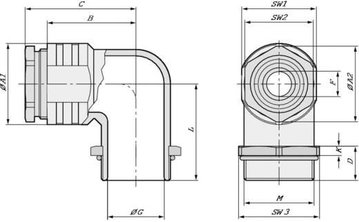 Winkelverschraubung M40 Druckguss Natur LappKabel SKINDICHT® RWV-M 40X1,5 5 St.
