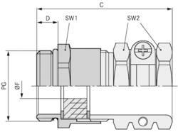 Kabelová průchodka LAPP SKINDICHT® SHZ PG 21 mosaz, délka závitu 7 mm, mosaz, 25 ks