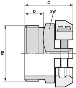 Kabelová průchodka LAPP SKINDICHT® SK PG 21 mosaz, délka závitu 8 mm, mosaz, 25 ks