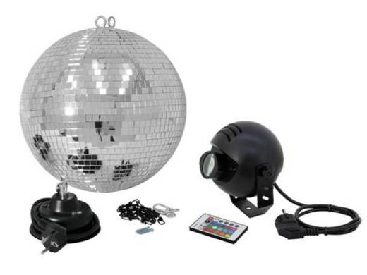 LED (RGB) Discokugel-Set mit Motor 30 cm Eurolite Spiegelkugelset 30cm