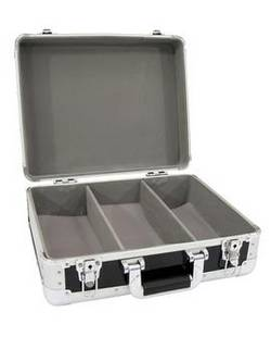 Kufr na CD, zaoblené rohy, hliník, černá