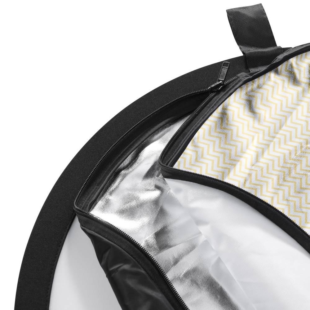 vhbw 5in1-Reflektor schwarz weiß gold silber Diffusor faltbar oval 200x150cm