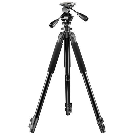 Dreibeinstativ Walimex FT-665T 1/4 Zoll Arbeitshöhe=38 - 185 cm Schwarz 3D-Neiger, inkl. Tasche