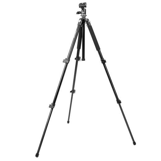 Dreibeinstativ Mantona Scout Stativ 1/4 Zoll, 3/8 Zoll Arbeitshöhe=45 - 142 cm Schwarz Kugelkopf