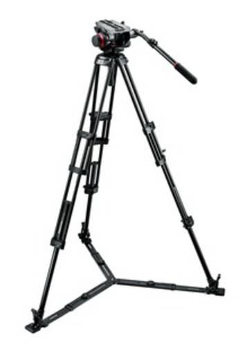 Dreibeinstativ Manfrotto 504HD,546GBK Arbeitshöhe=46.5 - 171 cm Schwarz mit Gegengewicht, Wasserwaage, inkl. Tasche