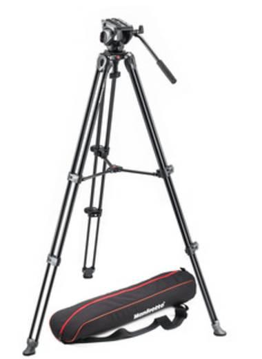 Dreibeinstativ Manfrotto MVK500AM 1/4 Zoll, 3/8 Zoll Arbeitshöhe=67.5 - 154 cm Schwarz mit Gegengewicht, Wasserwaage, in