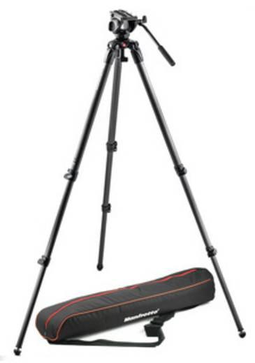 Dreibeinstativ Manfrotto MVK500C 3/8 Zoll Arbeitshöhe=38.5 - 182.5 cm Schwarz mit Gegengewicht, Wasserwaage, inkl. Tasch