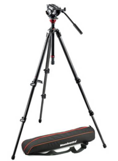 Dreibeinstativ Manfrotto MVH500AH,755CX3 1/4 Zoll, 3/8 Zoll Arbeitshöhe=56 - 173 cm Schwarz mit Gegengewicht, Wasserwaag