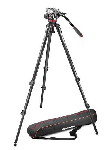 Dreibeinstativ Manfrotto Video Set MVH502A 3/8 Zoll Arbeitshöhe=41 - 185 cm Schwarz Wasserwaage, mit Gegengewicht