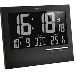 DCF nástenné hodiny TFA Dostmann 60.4508 60.4508, čierna