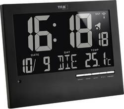 Digitální nástěnné DCF hodiny s podsvícením TFA, 60.4508, 185 x 230 x 31 mm, černá
