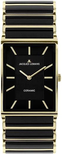 Quarz Armbanduhr 1-1651D (Ø x H) 26 mm x 6 mm Schwarz Gehäusematerial=Edelstahl Material (Armband)=Keramik Jacques Leman
