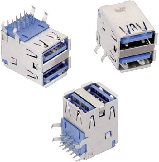 WR-COM USB 3.0 Typ A liegend 2-fach Buchse, Einbau horizontal WR-COM Würth Elektronik Inhalt: 1 St.