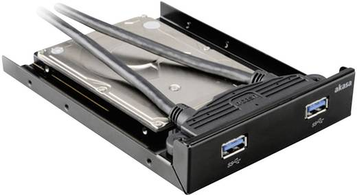 Akasa AK-HDA-09BK 2 Port USB 3.0-Fronteinschub-Hub mit SSD-, HDD-Adapter Schwarz