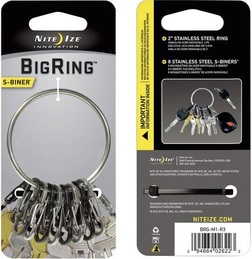 Schlüsselring mit Karabiner NITE Ize BigRing 8 S-Biner Schwarz, Silber 1 St.
