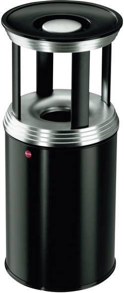 Odpadkový koš s popelníkem Hailo ProfiLine Combi pro L, 740 mm, Ø 330 mm, 30 l, sytě černá, stříbrná