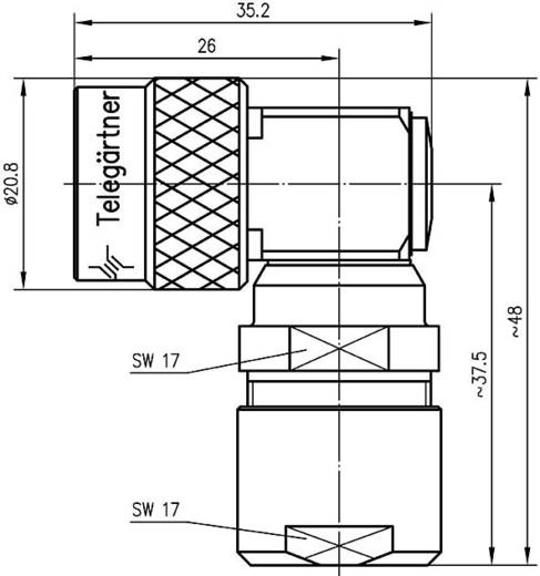 N-Steckverbinder Stecker, gewinkelt 50 Ω Telegärtner J01020C0122 1 St.