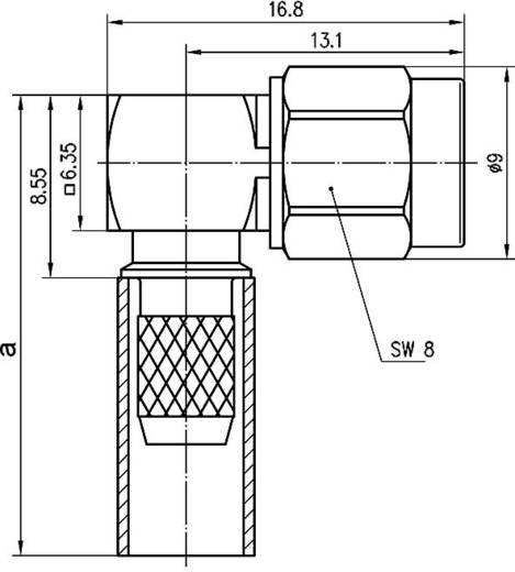 SMA-Steckverbinder Stecker, gewinkelt 50 Ω Telegärtner J01150A0071 1 St.