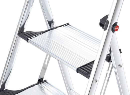 Aluminium Klapptritt klappbar Arbeitshöhe (max.): 2.50 m Hailo LivingStep Comfort Plus 4303-301 Silber, Schwarz 7.3 kg
