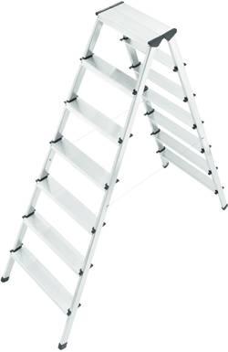 Image of Hailo 8657-001 Aluminium Stufen-Doppelleiter Arbeitshöhe (max.): 3.20 m Silber 7.2 kg