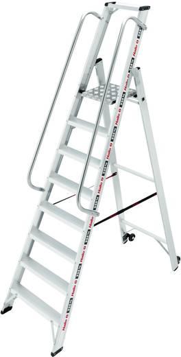 Aluminium Stufen-Stehleiter Arbeitshöhe (max.): 3.45 m Hailo ChampionsLine P225 plus 8208-101 Silber 12.8 kg