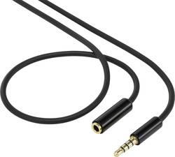 Propojovací audio kabel SpeaKa, zástrčka jack 3,5 mm ⇔ zásuvka jack 3,5 mm, černá, 1 m