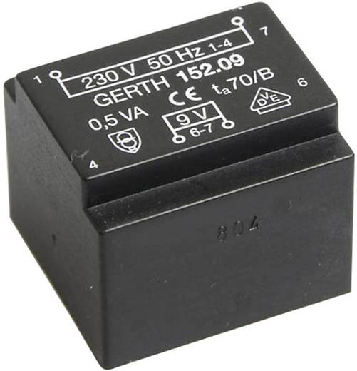 Printtransformator 1 x 230 V 1 x 12 V/AC 0.50 VA 41 mA PT201201 Gerth