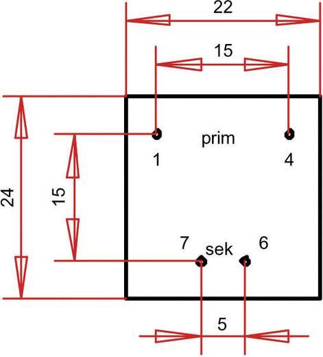 Printtransformator 1 x 230 V 1 x 6 V/AC 0.35 VA 58 mA PTE200601 Gerth