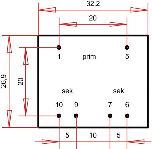 Printtransformator 1 x 230 V 2 x 7.50 V/AC 1.80 VA 120 mA PT301502 Gerth