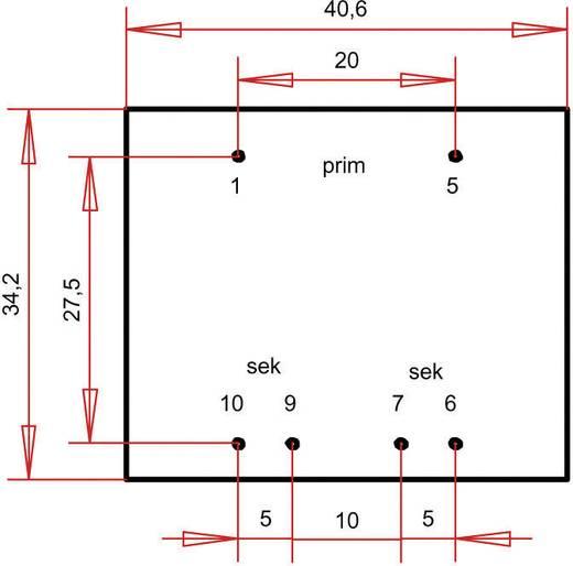 Printtransformator 1 x 230 V 2 x 9 V/AC 3.60 VA 200 mA PTG381802 Gerth