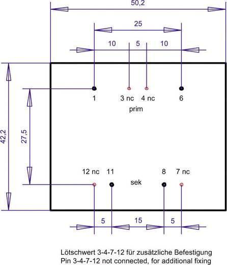 Printtransformator 1 x 230 V 1 x 12 V/AC 10 VA 833 mA PT481201 Gerth