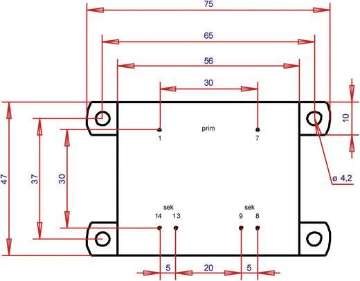 Printtransformator 1 x 230 V 2 x 12 V/AC 16 VA 666 mA PTA542402 Gerth