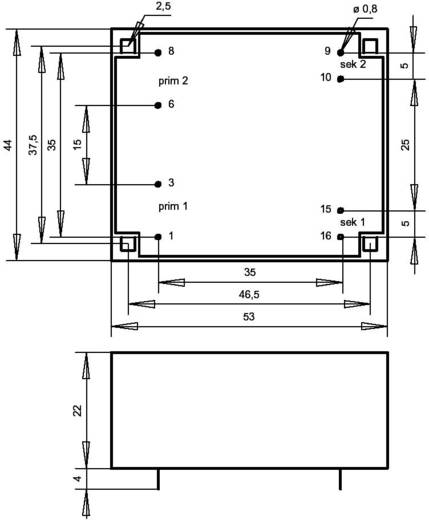 Printtransformator 2 x 115 V 2 x 15 V/AC 6 VA 200 mA FL6.30 Gerth