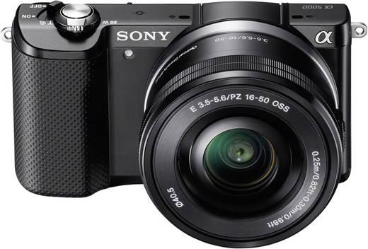 E-Mount Systemkamera Sony Alpha 5000 Kit SEL-P16-50 mm inkl. Standard-Zoomobjektiv 20.1 Mio. Pixel Schwarz Full HD Video