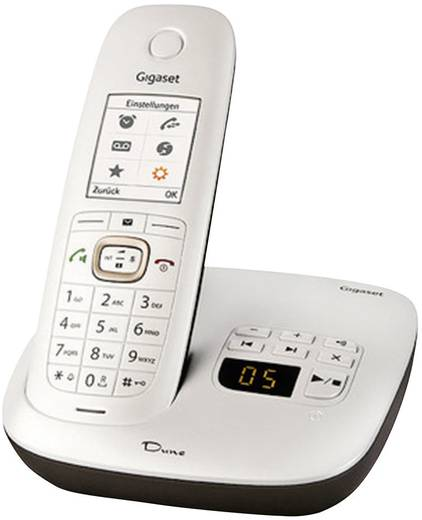 Schnurloses Telefon analog Gigaset DUNE CL540A Anrufbeantworter, Headsetanschluss Perlmutt-Weiß, Braun