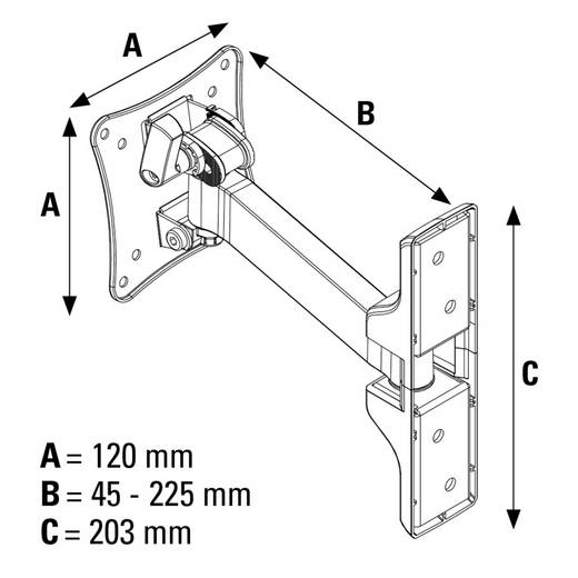 "Hama FULLMOTION ""Ultraslim"" XS 1 ruka TV-Wandhalterung 25,4 cm (10"") - 66,0 cm (26"") Neigbar+Schwenkbar, Rotierbar"