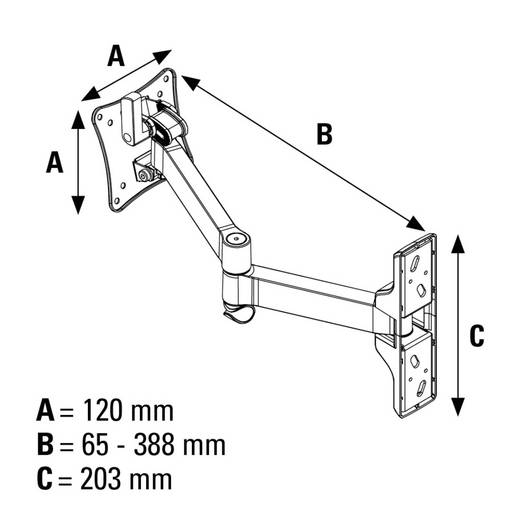 "TV-Wandhalterung 25,4 cm (10"") - 66,0 cm (26"") Neigbar+Schwenkbar, Rotierbar Hama FULLMOTION Ultraslim XS 2 bras"