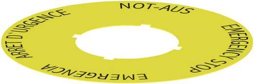 Bezeichnungsschild selbstklebend, rund (Ø) 75 mm STOP EMERGENZA, ARRET D´URGENCE, NOT AUS, EMERGENCY STOP Gelb Schlegel
